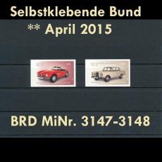 FRG MiNo. 3147-3148 ** All self adhesives April 2015, MNH