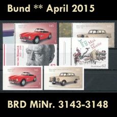 FRG MiNo. 3143-3148 ** New issues April 2015, MNH, incl. self-adhesives