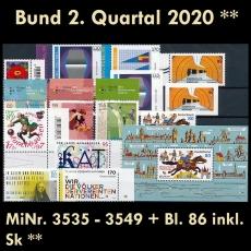 BRD MiNr. 3535-3549+Bl. 86 ** Neuausgaben Bund 2. Quartal 2020, postfr. inkl. Sk