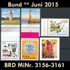FRG MiNo. 3156-3161 ** New issues June 2015, MNH, incl. self-adhesives