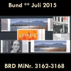 FRG MiNo. 3162-3168 ** New issues July 2015, MNH, incl. self-adhesives