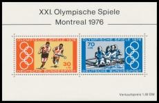 FRG MiNo. Block 12 (888-889) ** Summer Olympics 1976, Montreal, Miniature sheet, MNH