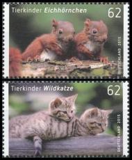 FRG MiNo. 3124-3125 set ** Animal babies (III): squirrel + wild cat, MNH, wet-adhesive
