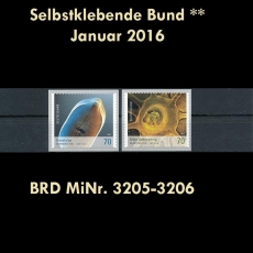 FRG MiNo. 3205-3206 ** Self adhesives january 2016, MNH, unprinted back