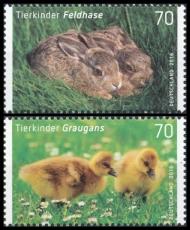 FRG MiNo. 3217-3218 set ** Series baby animals: hare and greylag, MNH