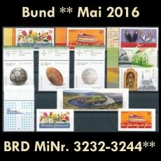 FRG MiNo. 3232-3244 ** New issues Germany may 2016, MNH, inkl. self-adhesives