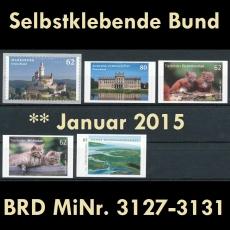 FRG MiNo. 3127-3131 ** All self adhesives January 2015, MNH, from box/sheet