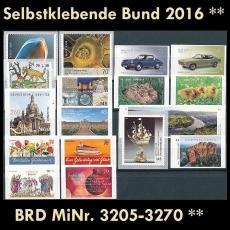 FRG MiNo. 3205-3270 ** Self-adhesives Germany year 2016, MNH