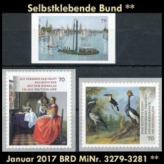 FRG MiNo. 3279-3281 ** Self adhesives Germany january 2017, MNH