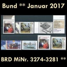 FRG MiNo. 3274-3281 ** New issues Germany january 2017, MNH incl. self-adhesives