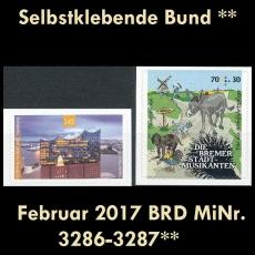 BRD MiNr. 3286-3287 ** Selbstklebende Bund Februar 2017, postfrisch