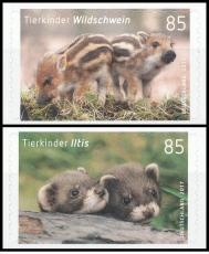 FRG MiNo. 3293-3294 set ** Animal children: Iltis & wild boar, MNH, self-adh.