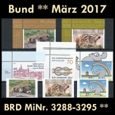 FRG MiNo. 3288-3295 ** New issues Germany march 2017, MNH incl. self-adhesive