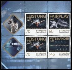 FRG MiNo. 3307-3309 se-tenant printing ** 50 y. German sporting assistance, MNH