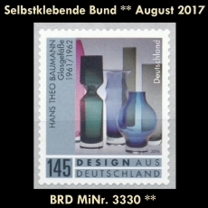 FRG MiNo. 3330 ** Self adhesives Germany august 2017, MNH