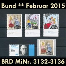 FRG MiNo. 3132-3136 ** New issues February 2015, MNH, incl. self-adhesives