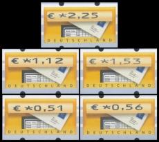FRG MiNo. ATM 5 set 51-225 Euro cent ** Frama labels: mailbox, MNH