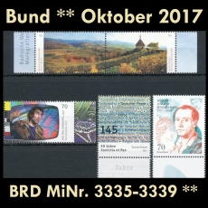 FRG MiNo. 3335-3339 ** New issues Germany october 2017, MNH