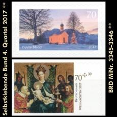 BRD MiNr. 3345-3346 ** Selbstklebende Bund 4. Quartal 2017, postfrisch