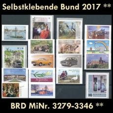 FRG MiNo. 3279-3346 ** Self-adhesives Germany year 2017, MNH