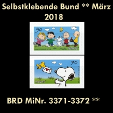 FRG MiNo. 3371-3372 ** Self-adhesives Germany march 2018, MNH