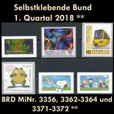 BRD MiNr. 3356-3372 ** Selbstklebende Bund 1. Quartal 2018, postfrisch