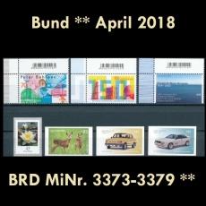 FRG MiNo. 3373-3379 ** New Issues Germany April 2018, incl. Self-adhesives, MNH