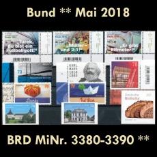 FRG MiNo. 3380-3390 ** New Issues Germany May 2018, incl. Self-adhesives, MNH