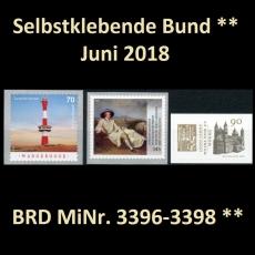 FRG MiNo. 3396-3398 ** Self-Adhesives Germany June 2018, MNH