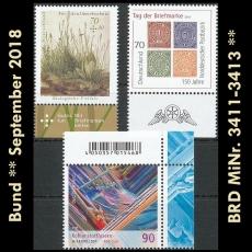 FRG MiNo. 3411-3413 ** New issues Germany september 2018, MNH