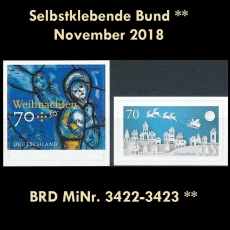 FRG MiNo. 3422-3423 ** Self-Adhesives Germany November 2018, MNH