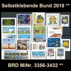 FRG MiNo. 3356-3432 ** Self-adhesives Germany year 2018, MNH