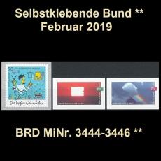FRG MiNo. 3444-3446 ** Self-Adhesives Germany February 2019, MNH