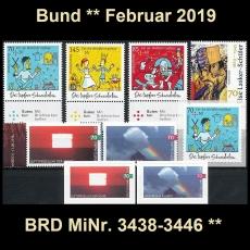 FRG MiNo. 3438-3446 ** New issues Germany february 2019, MNH