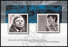FRG MiNo. Block 83 (3429 + 3448) ** Helmut and Loki Schmidt, MNH