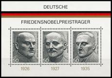 FRG MiNo. Block 11 (871-873) ** German Nobel Peace Prize Laureates, MNH