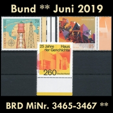 FRG MiNo. 3465-3467 ** New issues Germany june 2019, MNH