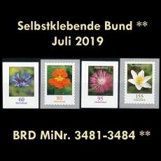 FRG MiNo. 3481-3484 ** Self-Adhesives Germany July 2019, MNH