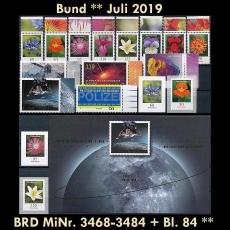 FRG MiNo. 3468-3484+sheetlet 84 ** New issues Germany july 2019, MNH