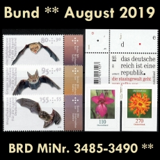 FRG MiNo. 3485-3490 ** New issues Germany august 2019 incl. self-adhesives, MNH