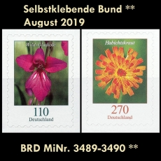 FRG MiNo. 3489-3490 ** Self-Adhesives Germany August 2019, MNH