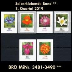 FRG MiNo. 3481-3490 ** Self-adhesives Germany Q3 2019, MNH