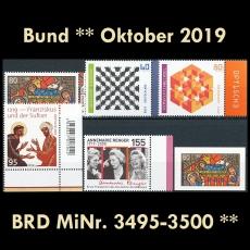 FRG MiNo. 3495-3500 ** New issues October 2019, MNH, incl. self-adhesives