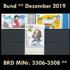 FRG MiNo. 3506-3508 ** New issues Germany December 2019, MNH