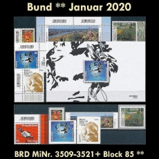 FRG MiNo. 3509-3521+sheet 85 ** Issues Germany January 2020 incl. self-adh., MNH