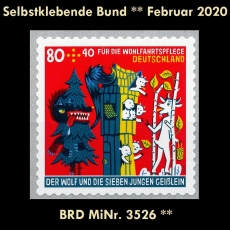 FRG MiNo. 3526 ** Self-Adhesives Germany February 2020, MNH