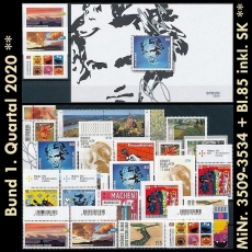 FRG MiNo. 3509-3534+sheet 85 ** New issues Q1 2020, MNH, incl. self-adhesives