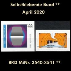 BRD MiNr. 3540-3541 ** Selbstklebende Bund April 2020, postfrisch