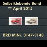 BRD MiNr. 3147-3148 ** Selbstklebende Bund April 2015, alle Neuausgaben, postfr.