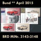 FRG MiNo. 3143-3148 ** New issues April 2015, MNH, incl. self-adhesives